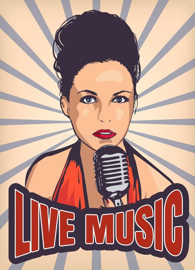 PIC do cantor da mulher ilustração royalty free