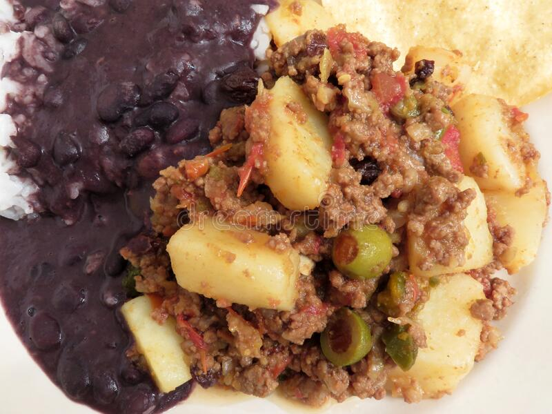 Picadillo With Black Beans and Tostada stock photos