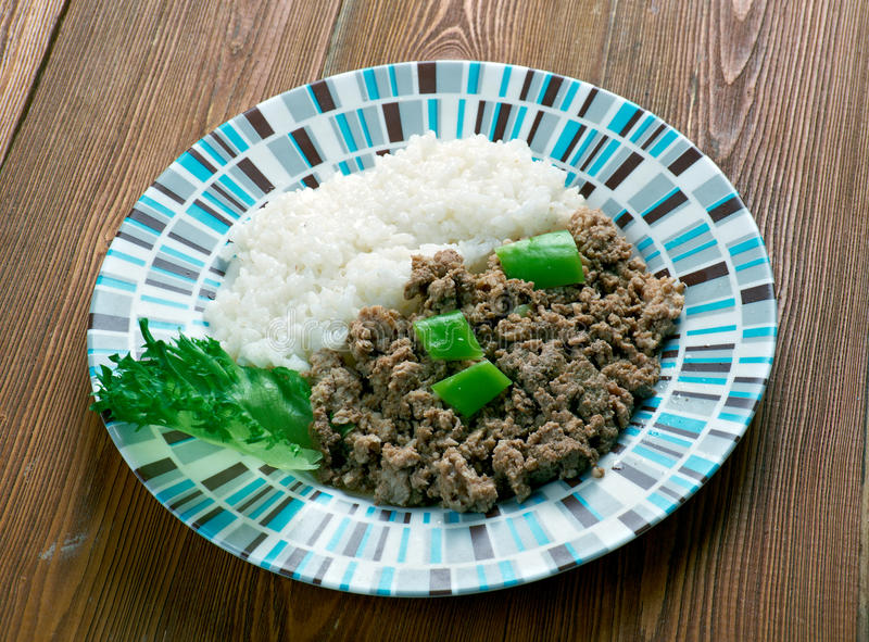 Picadillo a la habanera. Cuba Cocina - minced meat with rice on the Cuban stock images