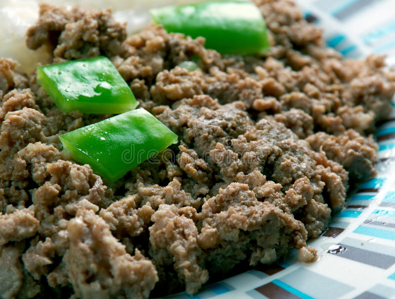 Picadillo a la habanera. Cuba Cocina - minced meat with rice on the Cuban royalty free stock photography