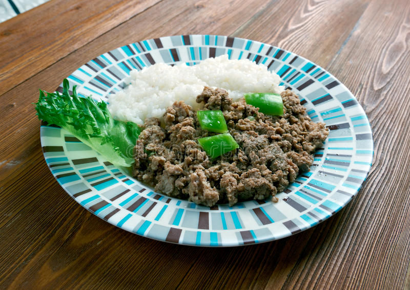 Picadillo a la habanera. Cuba Cocina - minced meat with rice on the Cuban stock photography