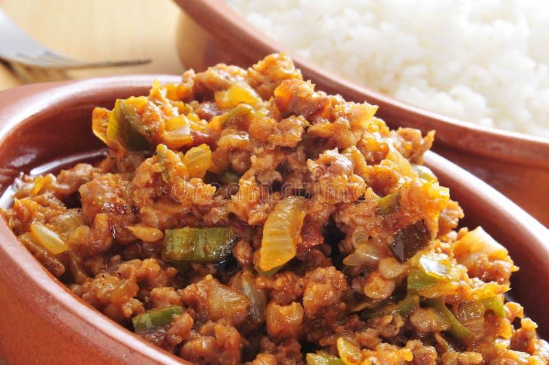 Picadillo, piatto tradizionale in molti paesi dell'America latina immagini stock libere da diritti
