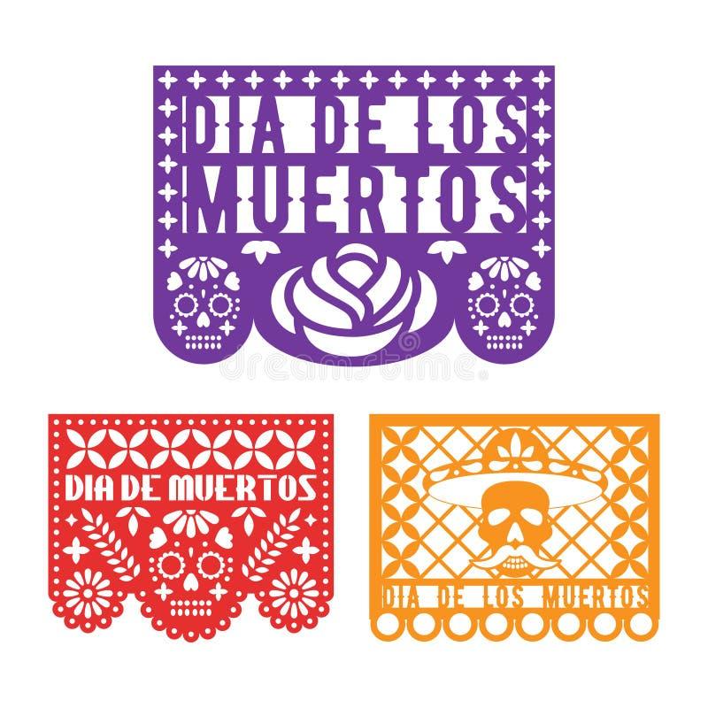 Picado Papel, мексиканское бумажное украшение на праздник Dia De Лос Muertos день мертвый иллюстрация штока