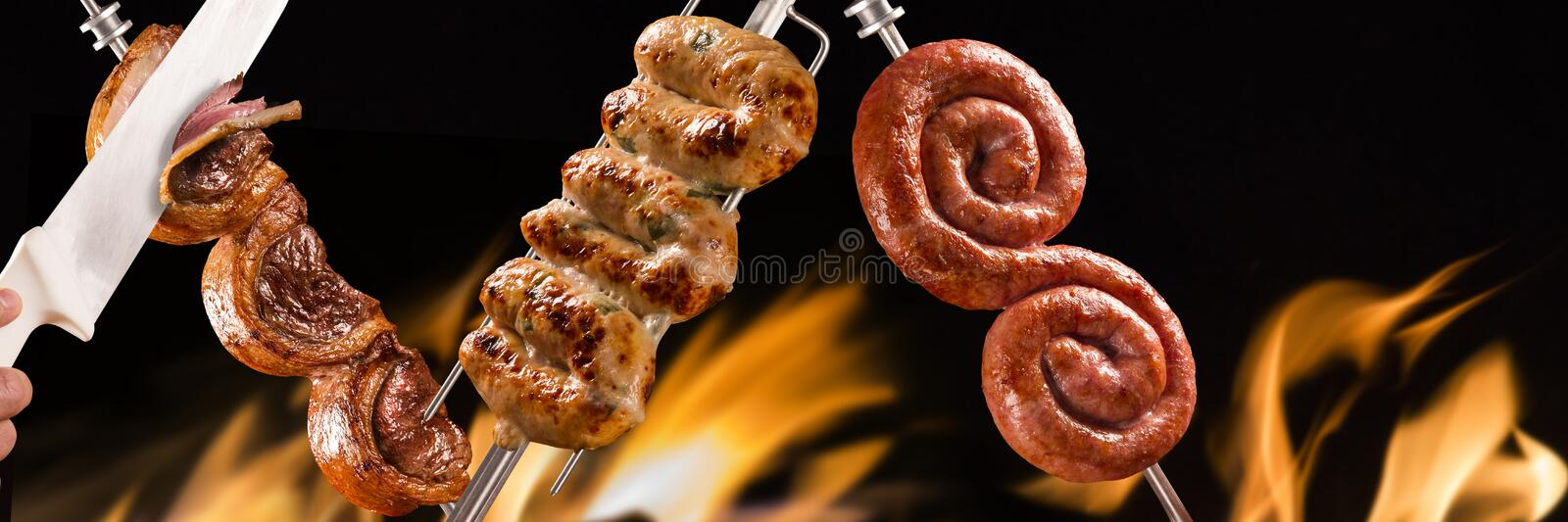 Picanha and cuiabana sausage, traditional Brazilian barbecue.  stock photo