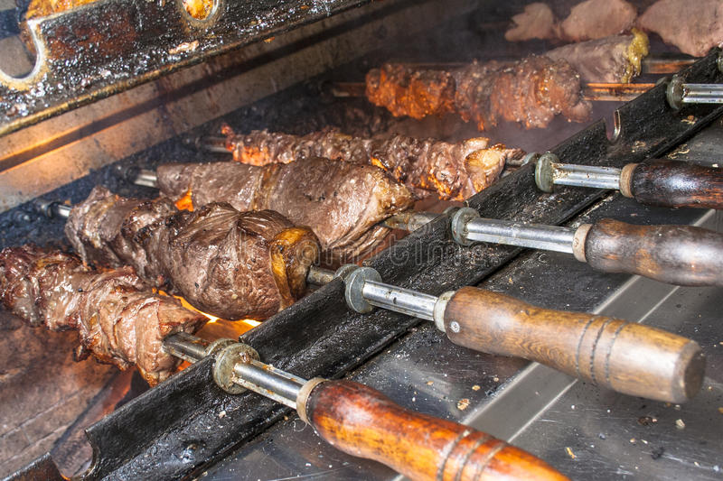 Picanha. Traditional Brazilian barbecue on restaurant in Sao Paulo city royalty free stock photos