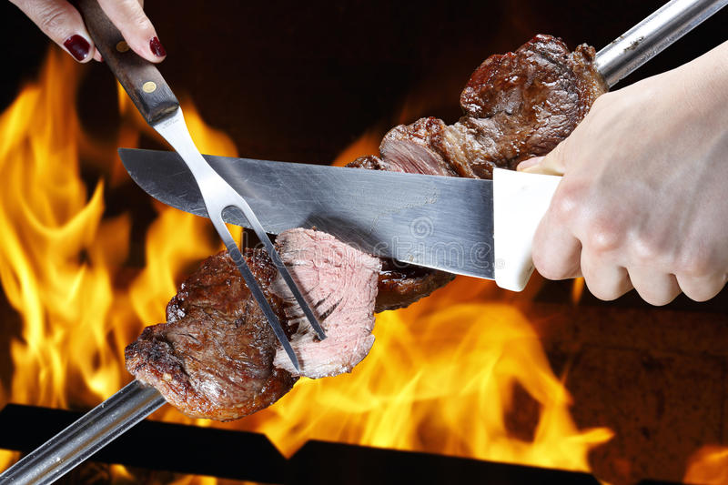 Picanha, traditionele Braziliaanse barbecue stock afbeeldingen