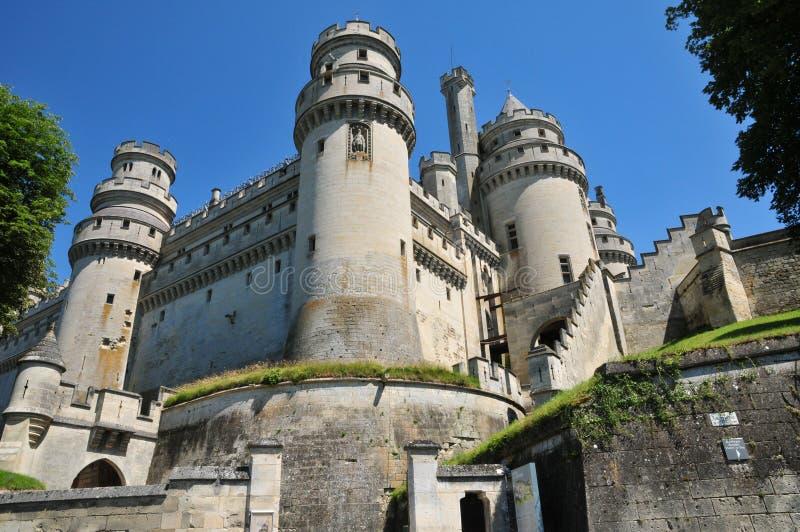 Picardie den pittoreska slotten av Pierrefonds i Oise royaltyfri foto