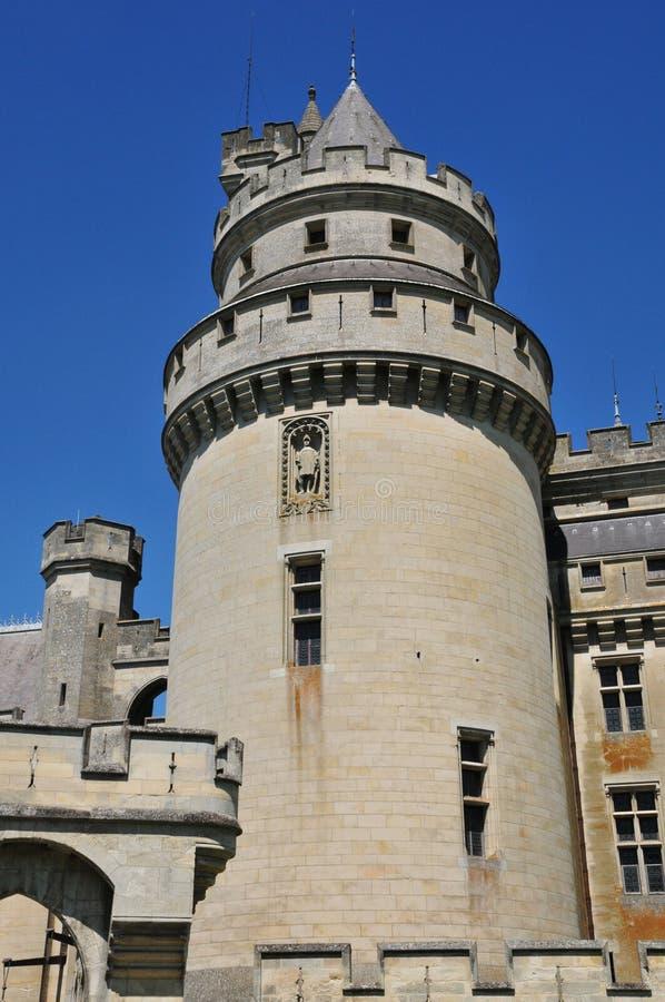 Picardie den pittoreska slotten av Pierrefonds i Oise royaltyfri fotografi