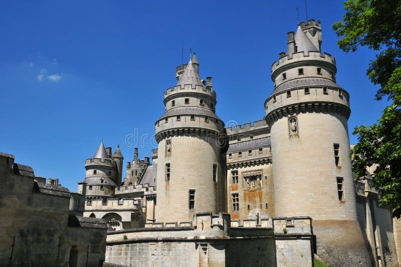 Picardie den pittoreska slotten av Pierrefonds i Oise fotografering för bildbyråer