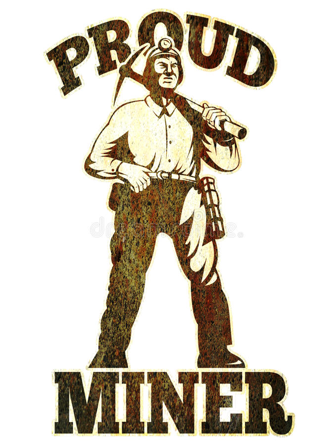 Picareta do mineiro de carvão retro ilustração do vetor