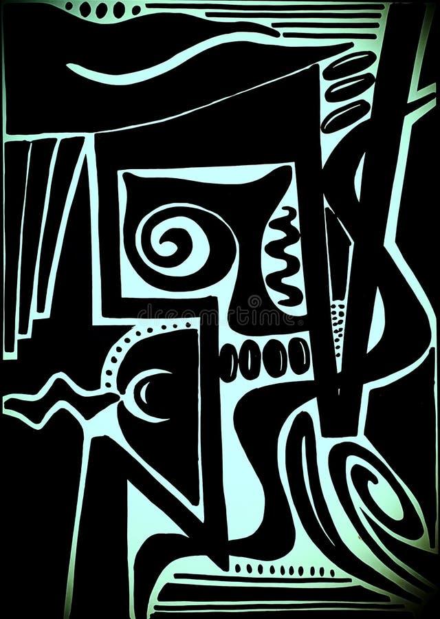 Picasso como el diseño abstracto que era mano dibujada imagen de archivo
