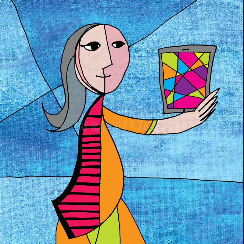 Picasso Woman using a Computer Tablet stock illustration