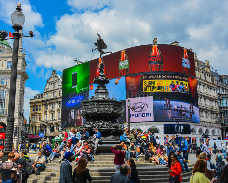 Piccadilly Circus - London. A picture of the iconic Piccadilly Circus in central London. A world famous tourist attraction stock photography