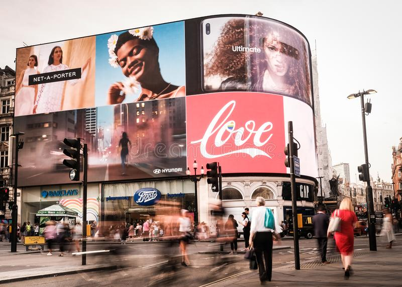 Piccadilly Circus in London`s West End royalty free stock image