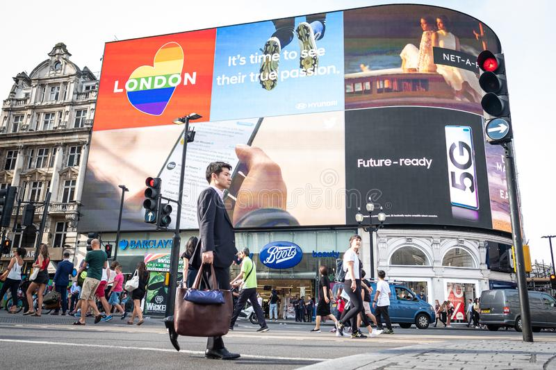 Piccadilly Circus in London`s West End stock photos