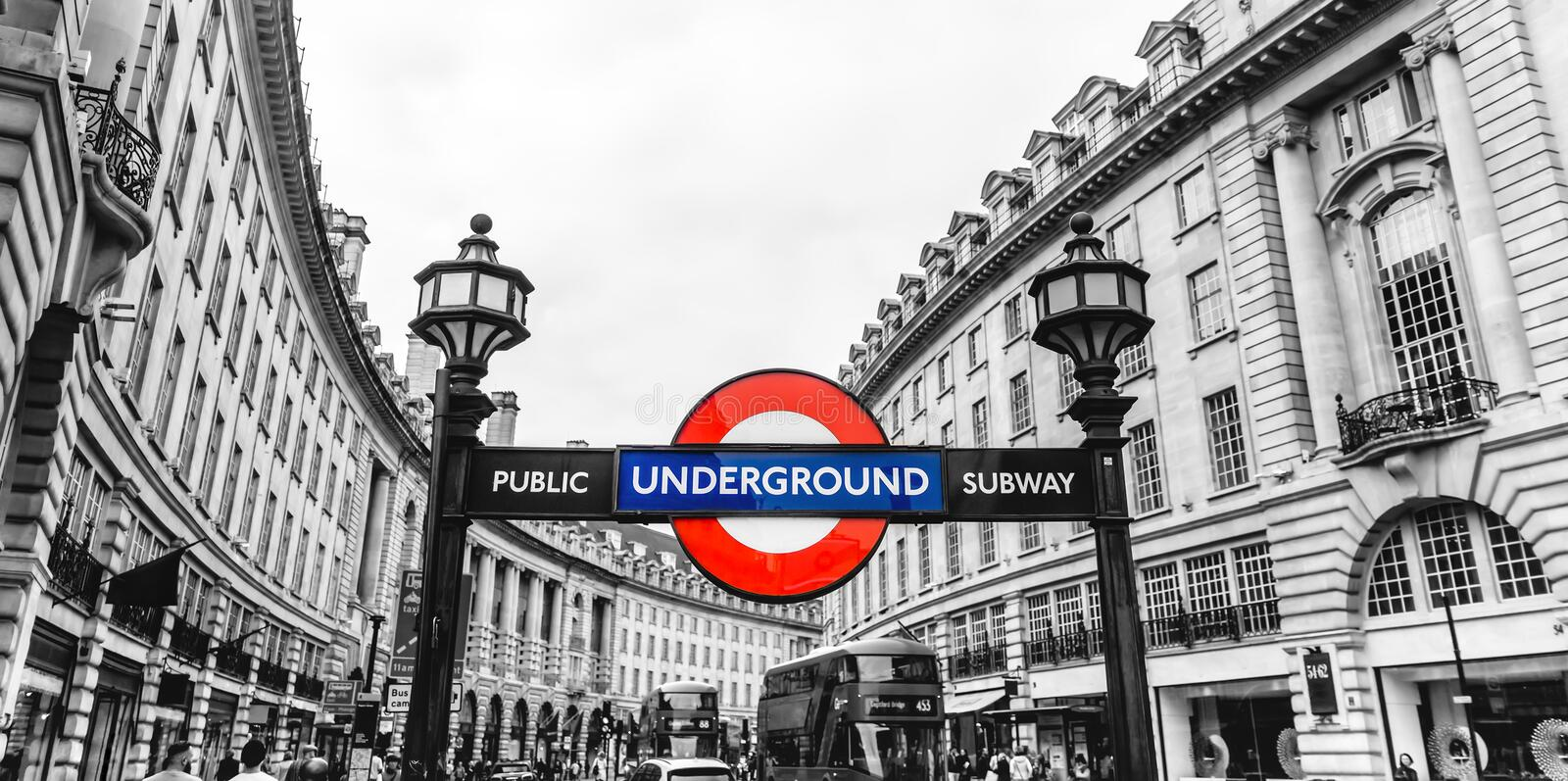 Piccadilly Circus station underground tube street signage, London, England, UK royalty free stock images