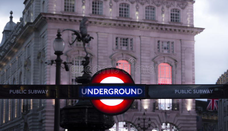 Piccadilly Circus street underground station. Night view stock photos