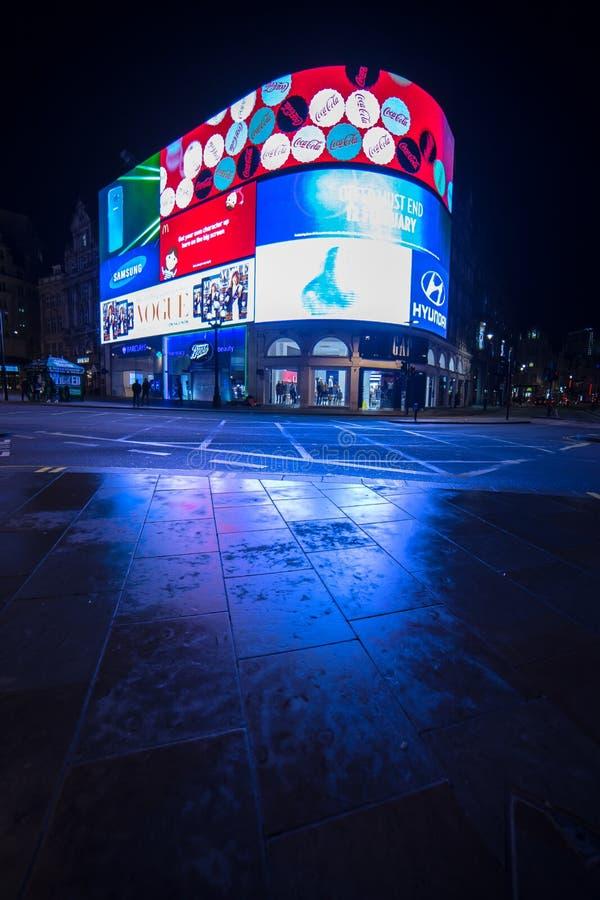 Piccadilly cyrk przy nocą Londyn Anglia zdjęcie royalty free