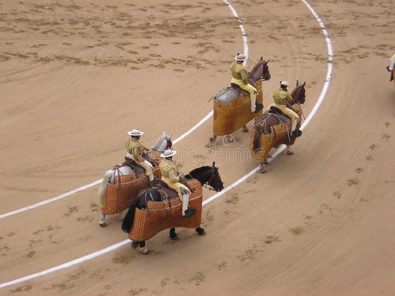 Piccadors parade on horseback stock photo