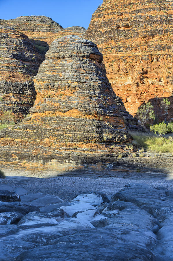 Piccaninny小河干燥河床,拙劣的工作搞糟国家公园 库存照片