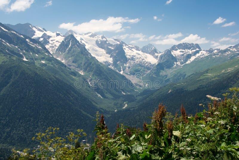 Picchi di montagna di Snowy di Dombai immagine stock