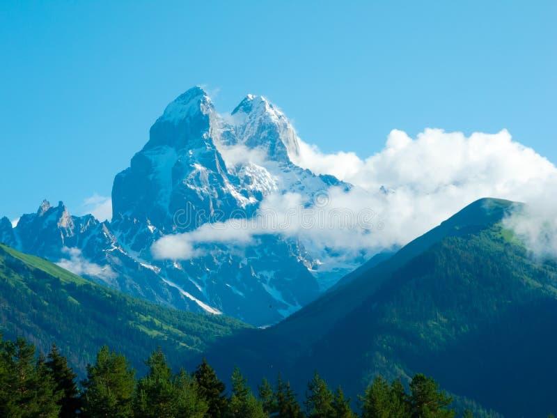 Picchi di Ushba in Svaneti fotografia stock