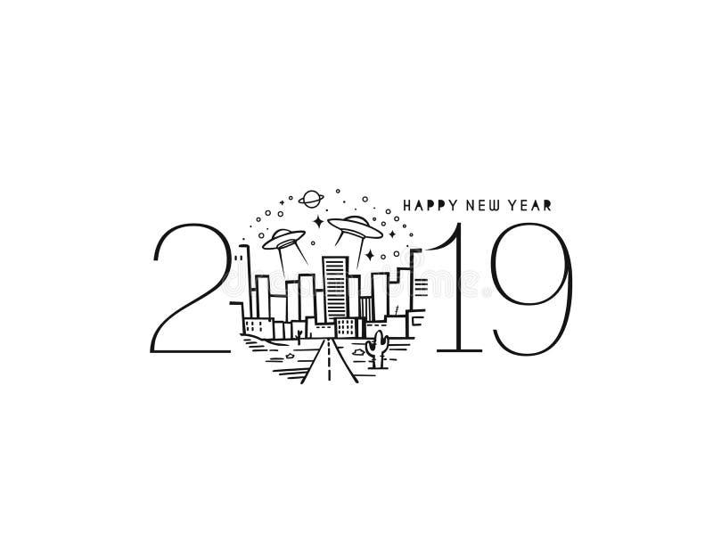 Picchiettio di futuro di progettazione del testo del buon anno 2019 illustrazione vettoriale
