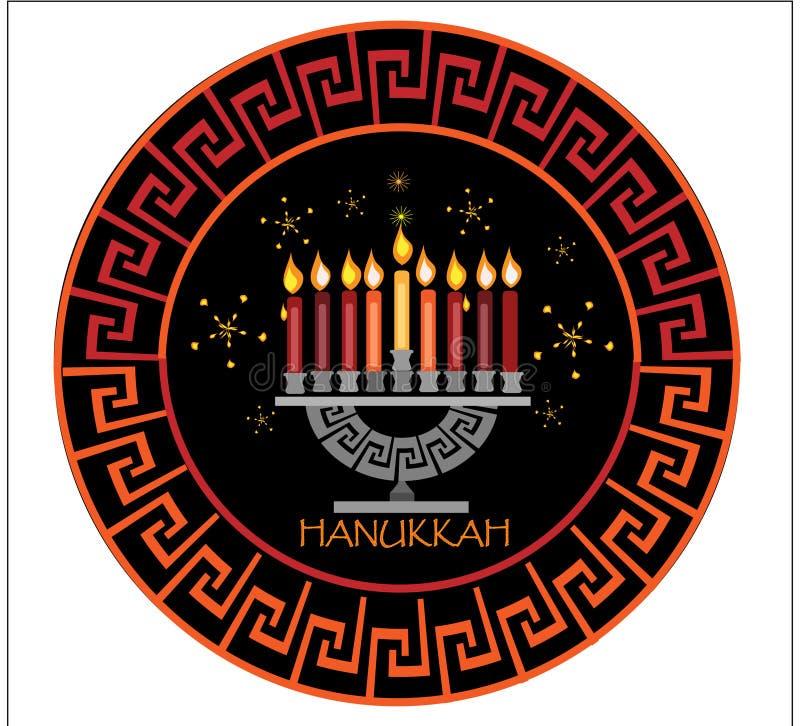 Picchiettio greco nero di Chanukah illustrazione di stock