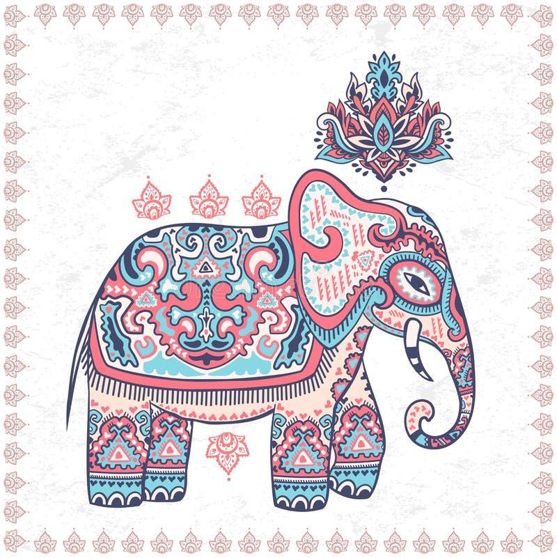 Picchiettio senza cuciture di vettore dell'elefante etnico indiano grafico d'annata del loto royalty illustrazione gratis