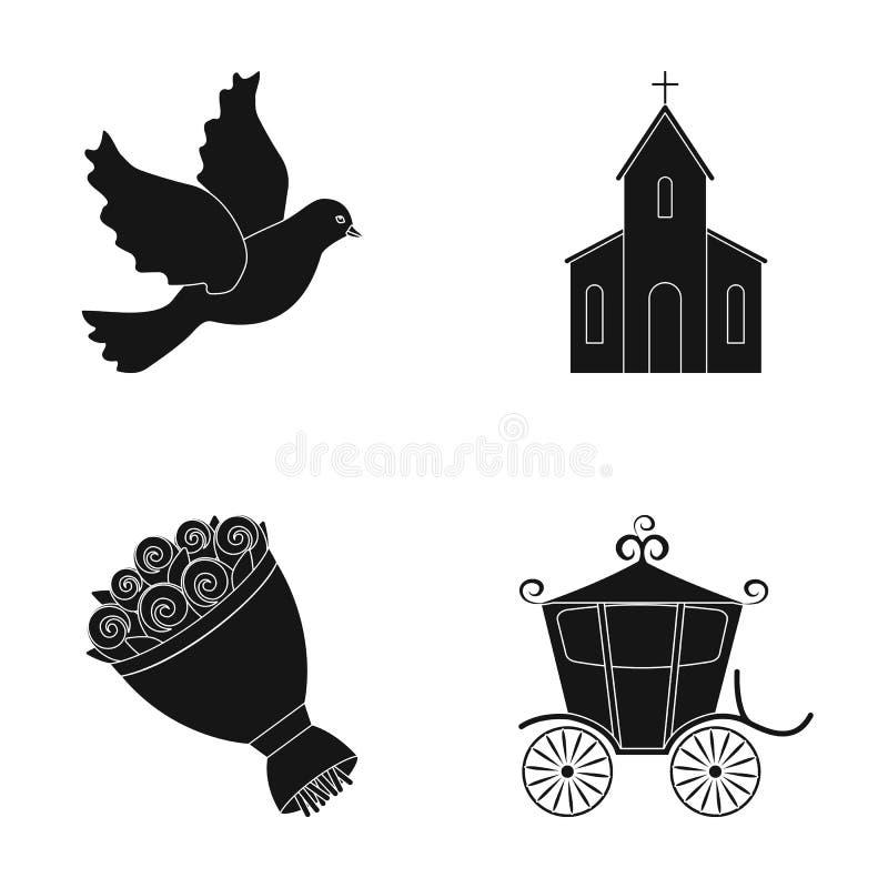 Piccione, chiesa, mazzo di nozze, trasporto Le icone stabilite della raccolta di nozze nello stile nero vector l'illustrazione di royalty illustrazione gratis