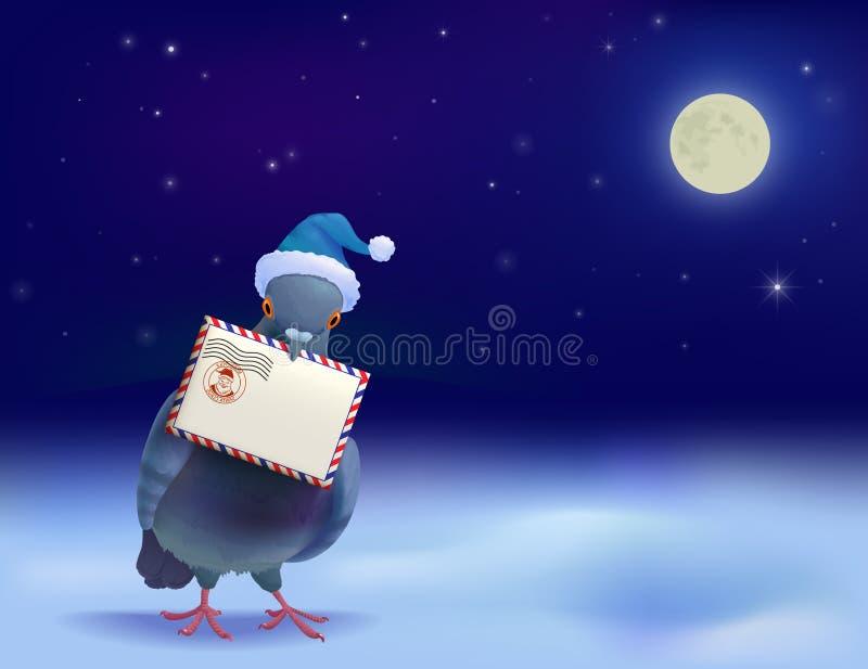 Piccione della posta di Natale illustrazione di stock