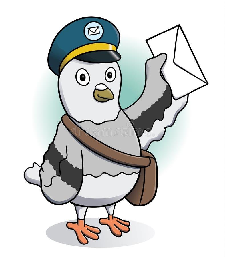 Piccione viaggiatore che tiene una lettera illustrazione