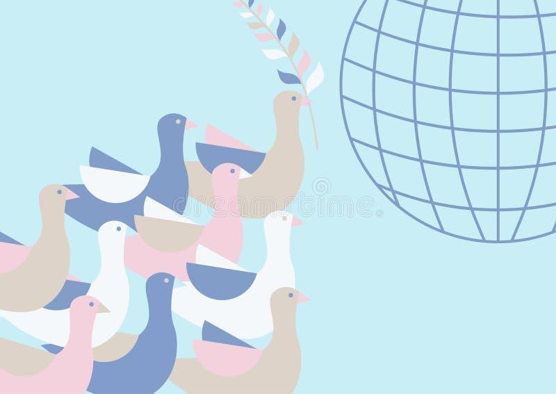 Piccioni che volano nel cielo sopra la terra Un ramo di ulivo nel becco di un uccello Modello del pianeta Terra royalty illustrazione gratis