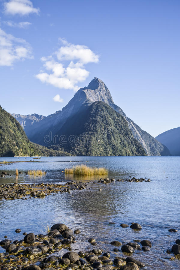 Picco del mitra in Milford Sound, Nuova Zelanda fotografie stock libere da diritti