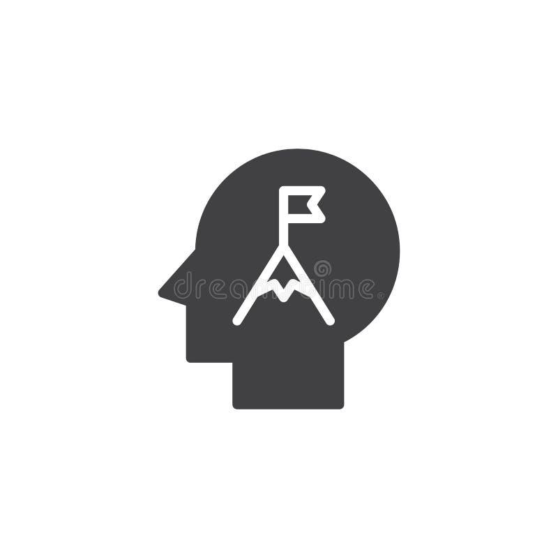 Picco di montagna con la bandiera nell'icona di vettore della testa umana illustrazione di stock