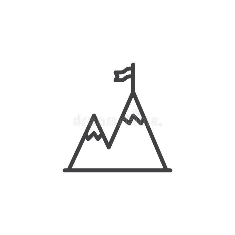 Picco di montagna con la linea di bandiera icona royalty illustrazione gratis
