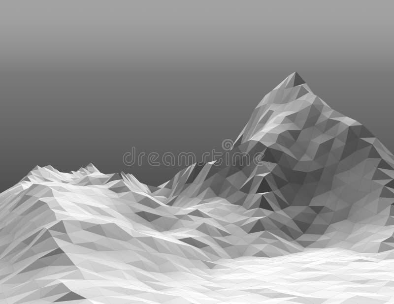 Picco di montagna e fondo nevosi grigi poligonali di pendenza delle colline illustrazione di stock