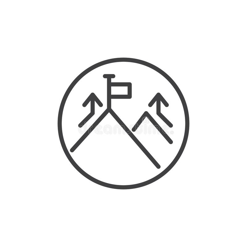 Picco di montagna ed icona del profilo della bandiera royalty illustrazione gratis