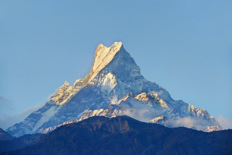Picco di montagna Himalayan durante l'alba fotografie stock libere da diritti