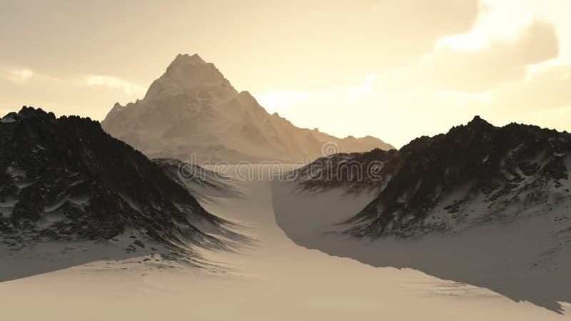 Picco di montagna sola distante illustrazione di stock