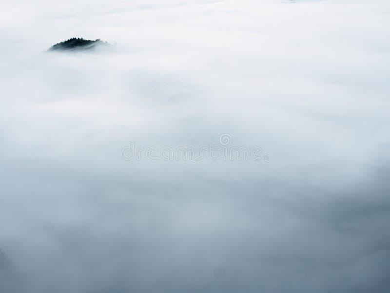 Picco scuro della collina che attacca fuori dalla nebbia pesante Valle nebbiosa profonda in pieno di foschia cremosa fotografia stock libera da diritti