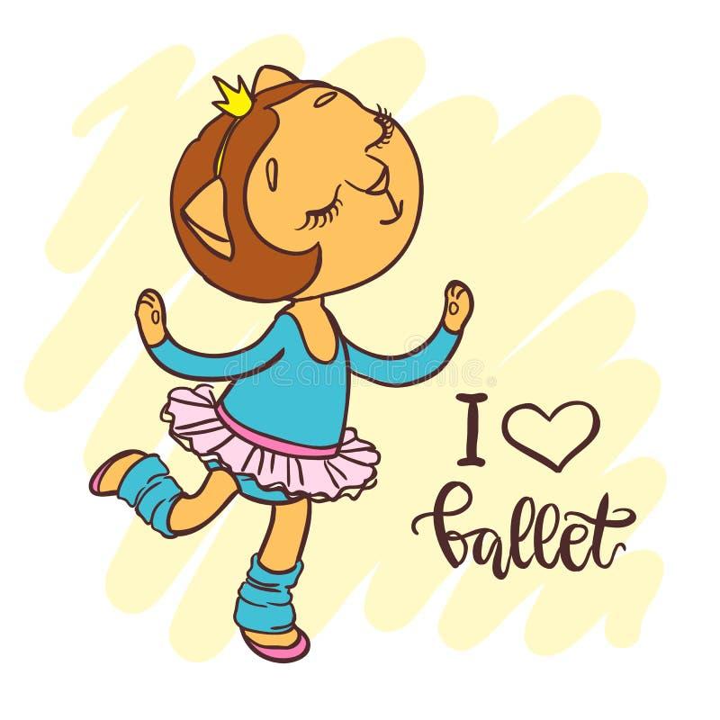 Piccola ballerina sveglia in tutu di balletto Iscrizione: amo il balletto illustrazione di stock