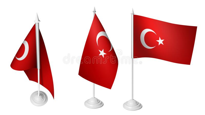 Piccola bandiera isolata della Turchia dello scrittorio 3 che ondeggia la bandiera turca realistica dello scrittorio 3d royalty illustrazione gratis