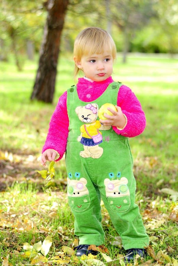 Piccola bella ragazza sull'erba verde entro l'autunno immagini stock libere da diritti
