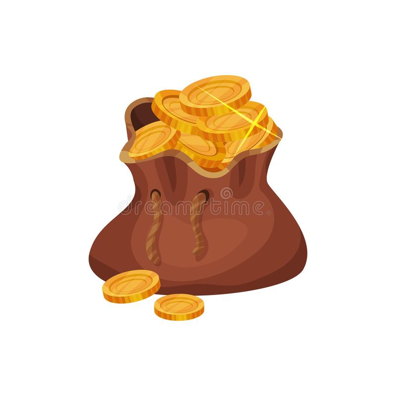 Piccola borsa marrone in pieno delle monete dorate Concetto delle finanze Tesori del pirata Simbolo di ricchezza Icona di vettore royalty illustrazione gratis