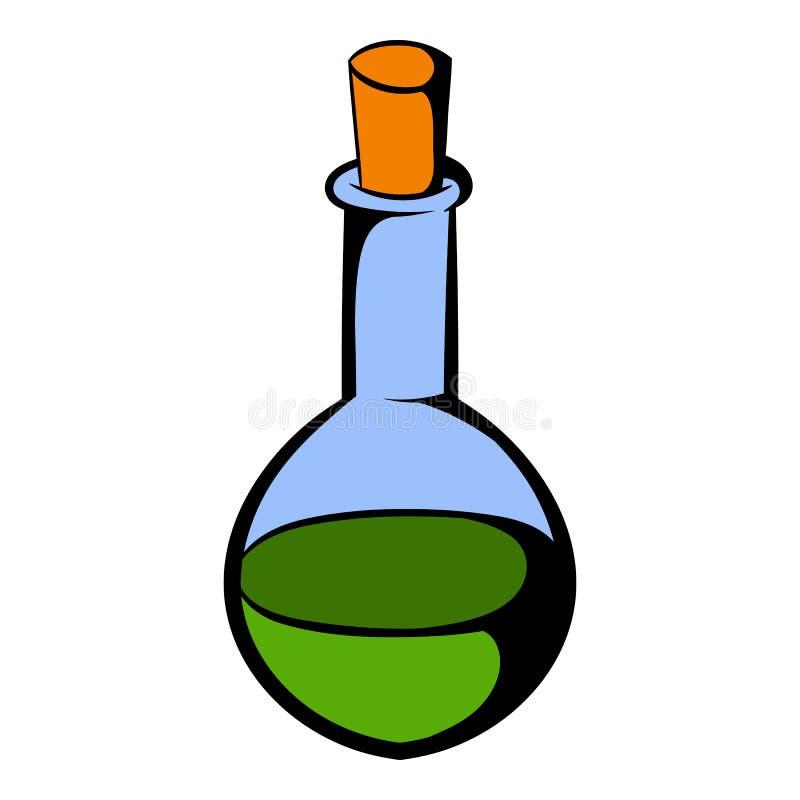 Piccola bottiglia con un'icona verde della pozione royalty illustrazione gratis