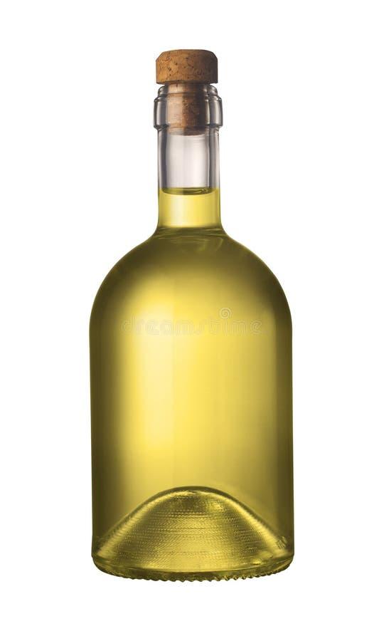 Piccola bottiglia di olio d'oliva con sughero fotografia stock libera da diritti