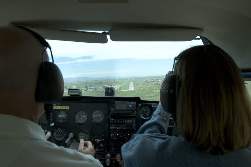 Piccola cabina di guida interna dell'aeroplano fotografia stock