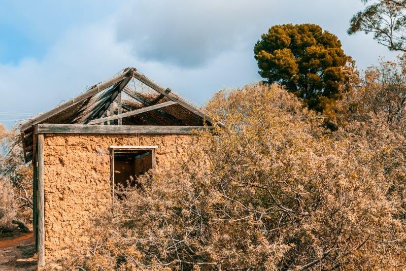 Piccola capanna tribale del fango nell'entroterra australiana immagine stock libera da diritti