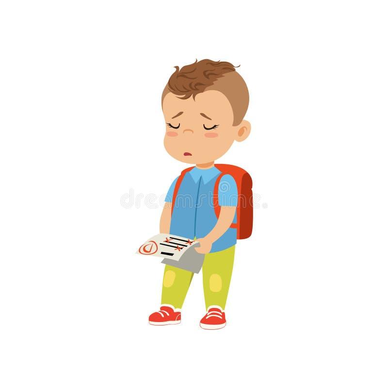 Piccola carta reattiva triste della tenuta dello scolaro con l'illustrazione di vettore del cattivo voto su un fondo bianco royalty illustrazione gratis